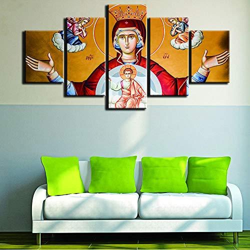 Xzfddn Moderne Rahmen Für Gemälde Dekorative Leinwand Kunstdrucke 5 Panel Jungfrau Maria Wandbild Für Hauptdekoration Malerei Kinderzimmer-40X60/80/100Cm,With Frame