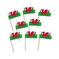 Pack of 100 Wales St David Flag Cocktail Picks for Cupcakes, Canapés etc