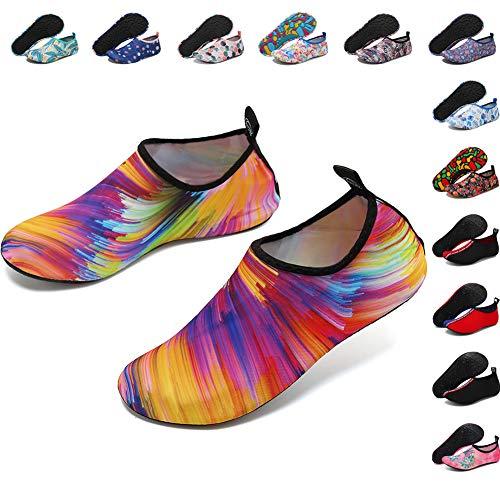 Deevike Aqua Socken Wasserschuhe Barfuß Yoga Socken Schnell Trocken Surfen Schwimmen Schuhe für Damen Herren Bunt 40/41 (Schnell Schwimmen)