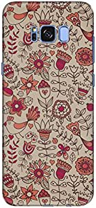 The Racoon Lean printed designer hard back mobile phone case cover for Samsung Galaxy S8. (Red Floral)