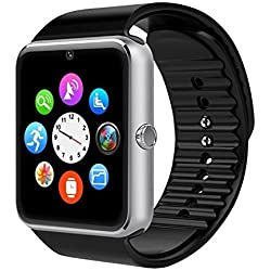 Willful SW016 - Reloj inteligente Bluetooth con ranura para tarjeta SIM de cámara, ranura para tarjeta TF, podómetro, monitor de sueño, llamadas/SMS/Twitter/Facebook Push para Android 4.2 y superiores, funciones limitadas para iPhone 7.0