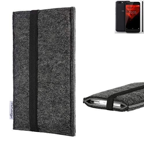 flat.design Handyhülle Lagoa für NOA H10le   Farbe: anthrazit/grau   Smartphone-Tasche aus Filz   Handy Schutzhülle  Handytasche Made in Germany