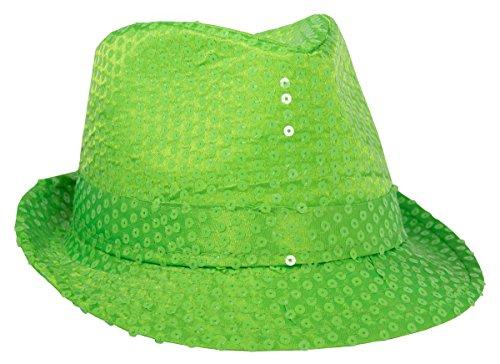 Folat 24054Tribly Cappello Party Deluxe con paillettes, Unisex adulto, Neon Verde, Taglia unica