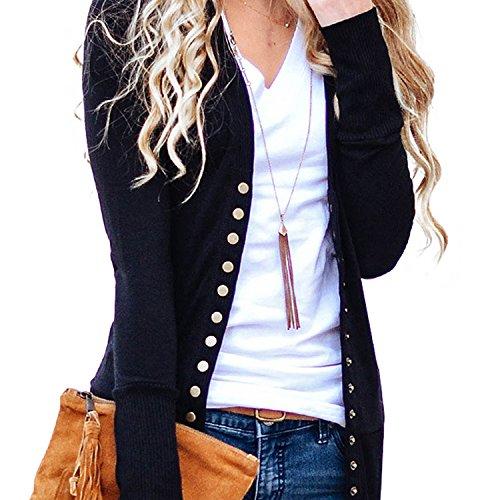 3-knopf-strickjacke (LAEMILIA Damen Kurzer Cardigan Einfarbig V-Ausschnitt Langarm Strickcardigan mit Knopf Strickjacke Basic Baumwoll Pullover Mantel Outwear)
