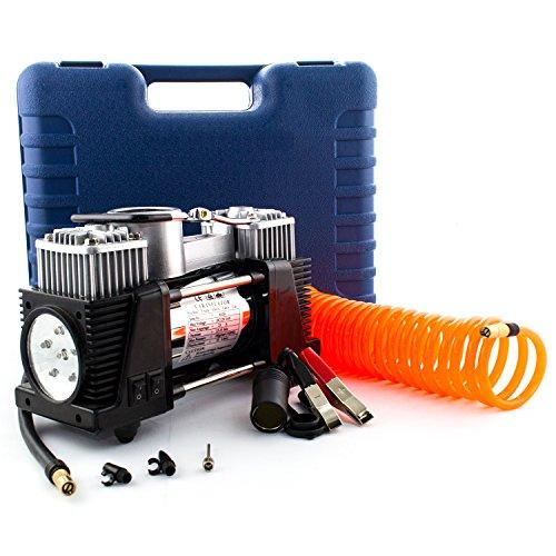 12V Druckluft Kompressor mit bis zu 7 Bar Druck | Elektrische Luftpumpe / Autokompressor mit 70L/min mit integrieter LED Taschenlampe