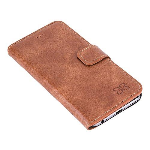 """Bouletta """"Wallet Case ID Apple iPhone se/5/5S–iPhone 6/6S–iPhone 6Plus/6S Plus–Samsung S7/S7E Book Case Housse en cuir avec porte-cartes & fonction support Étui Coque Housse Sac–main 100% sur Rustic Cognac"""