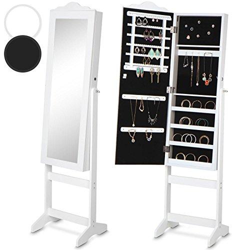 MIADOMODO Schmuckschrank mit Spiegel Standspiegel Spiegelschrank stehend -Maße (B/H/T): ca. 139,5 x 40,9 x 36,5 cm- schwarz oder weiss