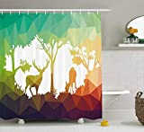 JAKE SAWYERS Wildlife Decor Shower Curtain, Fractal Deer Family Geometric Cut Shapes Hunt Adventure Themed Desert Eco Graphic, Fabric Bathroom Decor Set with Hooks, 70 inches, Multi