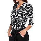 Xmiral Top Hemd Damen V-Ausschnitt Hülse mit DREI Vierteln Überlappung Leopardenmuster V Ausschnitt Business Kleidung(M,Weiß)