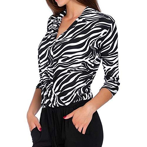 VECDY Moda Mujer con Cuello En V Mangas De Tres Puntos Superpuestas con Estampado De Leopardo Camiseta Superpuesta Patrón De Cebra con Cuello En V Camisa Casual(Blanco,XL)