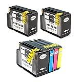 6 Stücke (3BK, 1C, 1M, 1Y) Tinten für HP 932 933 933xl 932xl Tintenpatronen kompatibel für HP Officejet 6100 6600 6700 7110 7600 7610 7612 Drucker