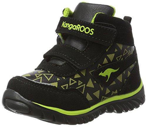 KangaROOS Unisex Baby Inlite Glow Hi Sneaker, Schwarz (Jet Black/Lime), 29 EU