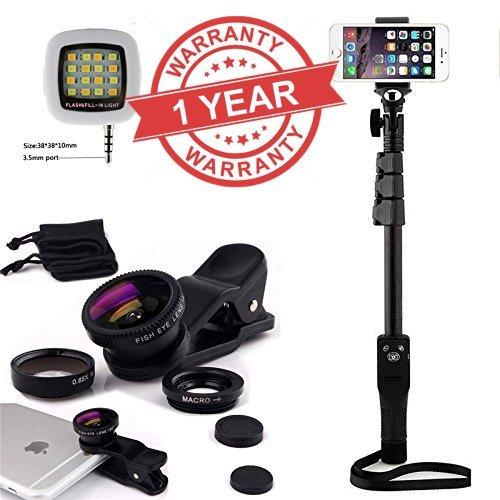 Premium Design Redmi Note 3 Compatible Latest YT-12 Bluetooth selfie stick+Selfie Flash Light & 3 in 1 Lens ( BLACK )