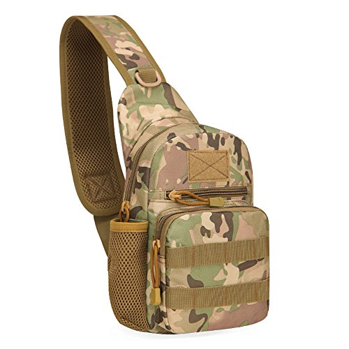 Greenpromise Outdoor Wasserdicht Herren Oxford Schulter Messenger Umhängetasche Militär Taktik Brust Pack mit Flasche Stecker Rückseite Pack, CP Camouflage -