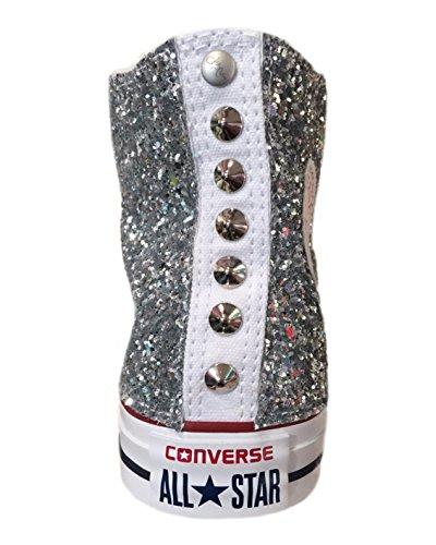 Converse All Star Super Glitter con applicazione di tessuto glitter argento e borchie argento Argento