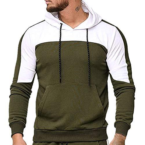Männer Casual Herbst Winter Langarm Slim Patchwork Mit Kapuze Mantel Tops Bluse(t_Armeegrün,M)