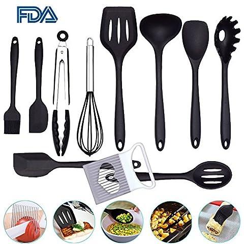 Atfung 10 Stück Silikon Küchengerät Set Hitzebeständige Antihaft-Silikon-Werkzeuge (4 Stück Silikon-spachtel)