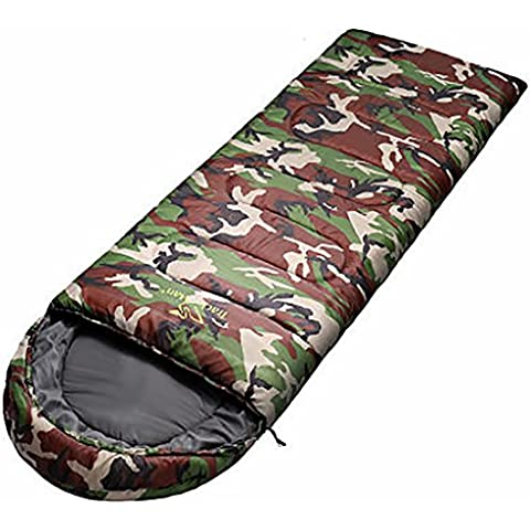MLveen Mummy Saco de dormir 3 - 4 Season ligero compacto bolsa de dormir transpirable Hollow algodón con bolsa de transporte Stash Pocket Resistente al agua Shell camping senderismo Drawstring Hood Collar saco de dormir ( Color : Camo , Peso : 1.9kg )