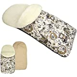rawstyle Saco de pie de invierno * Beige + búho $3* Saco de pie para bebé por ejemplo maxi-cosi, Römer, Cochecito o Buggy etc. nuevo Saco lana de cordero Búhos