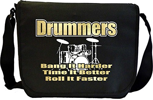 Drum Kit Drummers Bang Harder - Sheet Music Document Bag Musik Notentasche MusicaliTee