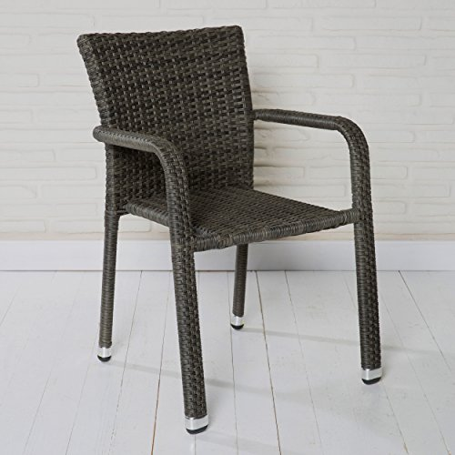 Wholesaler GmbH Stapelbarer Armlehnstuhl aus der Möbelserie Barcelona in Grau mit Armlehnen exkl....