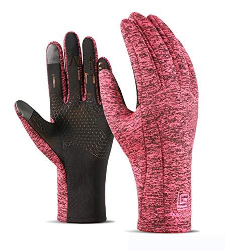 Gnzoe Wasserdicht Handschuhe für Herren Damen Fahrradhandschuhe Touch Screen Warm Laufhandschuhe Skihandschuhe Buchstaben Rose Groß