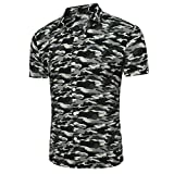 GreatestPAK Polo Hemd Herren Oberteile Camouflage Print T-Shirt Langarm-Bluse