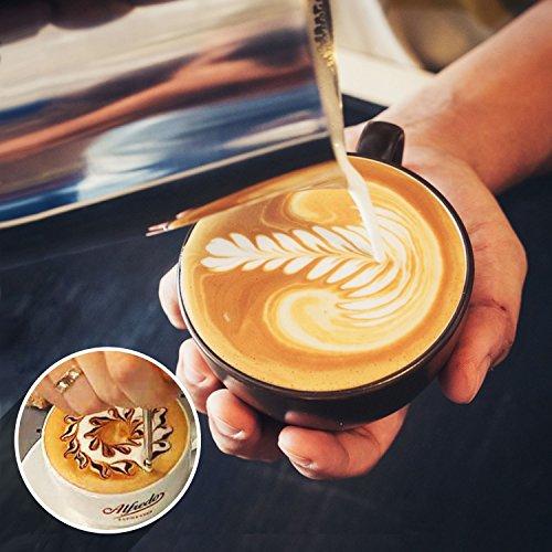 ONEHOUS Milchkännchen Edelstahl 350ml, Milk Jug, Milchaufschäumer Perfekte Größe für 2 Cappuccino Tassen, Barista Stift für Latte Art, Einfach zu Reinigen, Silber - 2