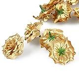 VORCOOL 50 Stück Kunstblumen Rosenköpfe Stoffrosen Deko-Blüte (Golden) - 5