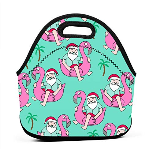 Santa Flamingo Bright Green Lunch Bag for Men Women,Leakproof Insulated Cooler Bag Picnic Boating Beach Fishing Work ()