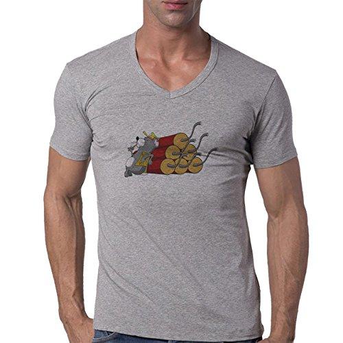 Bomb Atom Boom Fire Mouse Herren V-Neck T-Shirt Grau