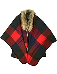 Lora Dora Womens Faux Fur Collar Poncho Wrap Knitted Warm Winter Shawl Cape