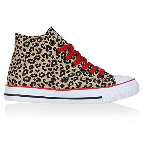 Bequeme Canvas Sneakers | High-Cut Modell | Basic Freizeit Schuhe | Viele Farben und Muster | Gr. 36-42 Leopard