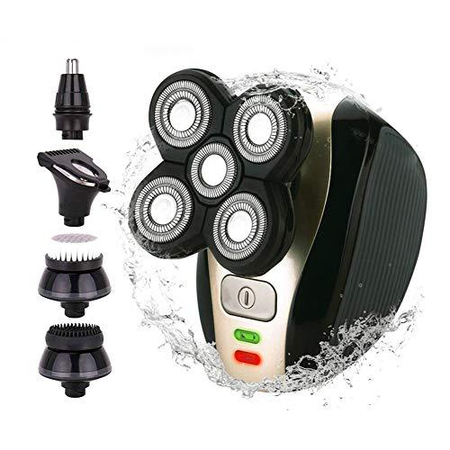 Anyer Tap Elektrorasierer Für Männer Kopfrasierer Für Männer Glatze Grooming Kit 5 in 1 Wet Dry Rotary Shavers Nasenhaarbartschneider Clippers Gesichtsreinigungsbürste