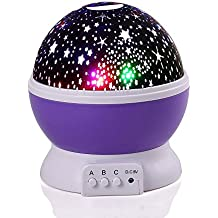lederTEK Lámpara Proyector del Cielo de Estrellas y Luna Creando un Maravilloso Entorno Nocturno en la Pared de la Habitación con Varios Colores para Niños(Purpúreo)