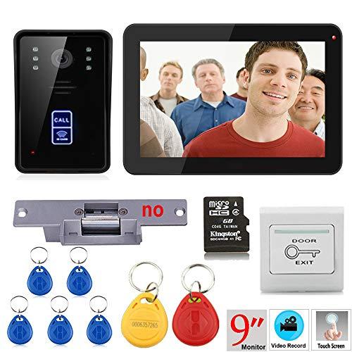 Hardwired Chime Kit (NBKLS Video-Türklingel 9 Zoll Aufzeichnung RFID 900TVL Farbe Video Video-Türklingel-Intercom Set regensichere Nachtsicht-Set 8G TF Karte + Schockschloss)