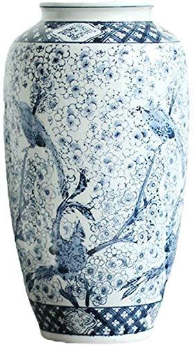 Vasen Keramik Vintage Blaue und weiße Porzellan-Kunst Ausgangsdekoration hydroponischen Gefälschte Blume Blumentopf Boden Blumentopf Große 19 * 37cm Wohnaccessoires Deko