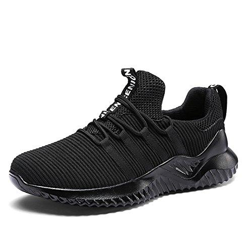 populalar Herren Sportschuhe Gym Freizeitschuhe Laufschuhe Sneaker Atmungsaktive Turnschuhe Ultra-Light Mesh Running Wanderschuhe Outdoorschuhe 0028 Black 43 EU