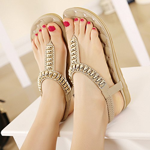 dqq femmes string perles T Sangle Sandale Beige 195