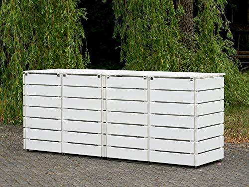 4er Mülltonnenbox / Mülltonnenverkleidung 240 L Holz, Deckend Geölt Weiß - 4