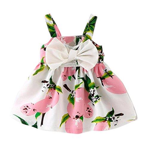 bunt Zitrone Druck Tanktop Kleid Mädchen locker Bowknot blusen Dress Sommer Säugling Strand Baumwolle Früchte Kleider, 0-24 Monate (18 Monate, Rosa) ()