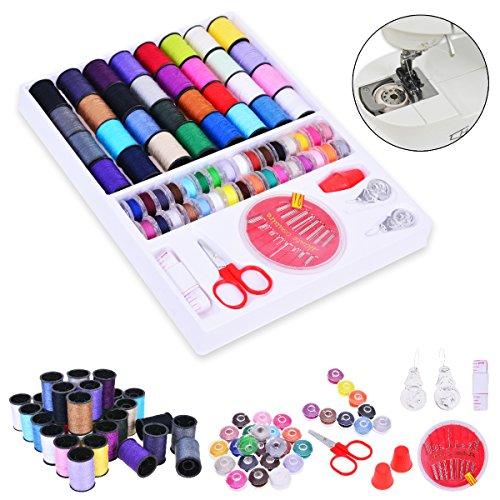 YoungRich - Kit de costura surtido de colores y accesorios con agujas de dedos, tijeras de hilos, cinta métrica para el hogar, viajes y uso de emergencia