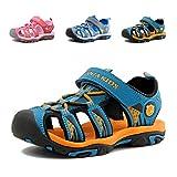 Geschlossene Sandalen Jungen Trekking Sommer Schuhe Klettverschluss Wasserdicht Outdoor Kindersandalen Mädchen Wasserfest Atmungsaktiv Strand Unisex Dunkelblau 26