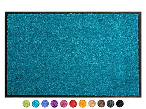 Primaflor - Ideen in Textil Schmutzfangmatte CLEAN - Türkis 60x90 cm, Waschbare, rutschfeste, Pflegeleichte Fußmatte, Eingangsmatte, Küchenläufer Sauberlauf-Matte, Türvorleger für Innen & Außen
