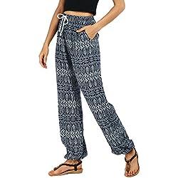 Urban GoCo Mujer Casual Estampado Boho Harem Pantalones Cintura de Cordón Talle Alto Delgado Pantalon de Playa Vacaciones Deportes (L, 2)