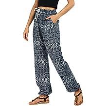 Urban GoCo Mujeres Casual Pantalones Harem Boho de Impreso Cintura de Cordón Pantalón