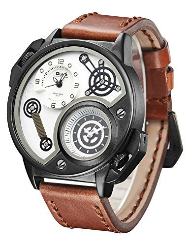 jechin Herren Dual Time Quarz Analog Armbanduhr mit einzigartige Big Face Cool Zifferblatt Design, Leder Band Braun