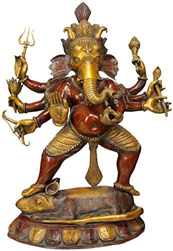 Exotic India Ashtabhujadhari Yuddha Ganesha, Double Chola, Taille : 10 x 20 x 27