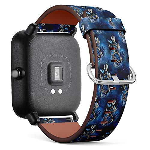 Compatible con Huami Amazfit Bip - Reloj de Pulsera de Piel con pasadores de liberación rápida (Acuarela águila atrapasueños)