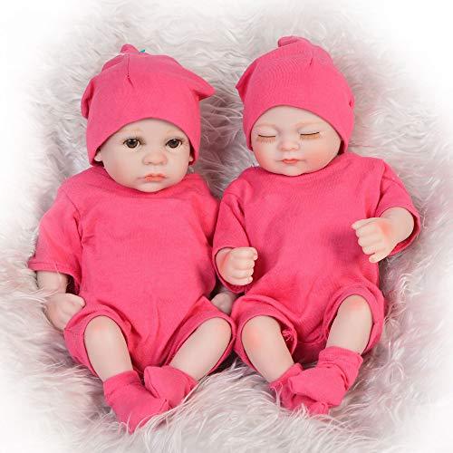 Unexceptionable-Dolls Babypuppen,Schöne 11 '' boneca Reborn Toys vollsilikon körper Vinyl Babys Puppe Twins schließen und öffnen Augen mädchen Puppe für Kinder Geburtstagsgeschenke, Zwillinge